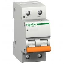 Magnetotermico 1 Polo+N 16A 4,5KA Curva C 2 Moduli Schneider DOMA47C16