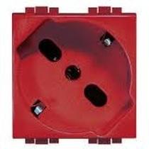 Presa schuko/bipasso 2P+T 10/16A, terra centrale e laterale - colore rosso - Living, Light, Light Tech L4140/16r