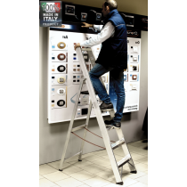 Scala Professionale a Cavalletto con Parapetto in Alluminio Frigerio SCA 6026/05