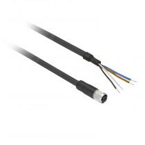Connettore precablato con cavo 5 mt XZ femmina  M12 4 pins Telemecanique XZCP1141L5