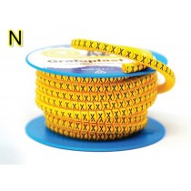 Anellino colore Giallo 2,5x5mm lettera N 1000 pz Grafoplast AZO3NNBY