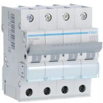 Magnetotermico 4 Poli 50A 4,5KA C 4 Moduli Hager MYN450