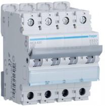 Magnetotermico 4 Poli 20A 6KA C 4 Moduli Hager  MCA420