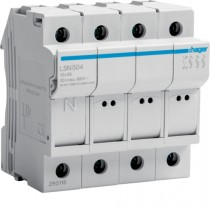 Portafusibile 10X38 3 Poli + N 4 Moduli Hager LSN504