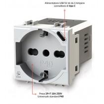 Presa Schuko/Bipasso + Alimentatore USB da 3A  per Vimar Arkè 4Box 4B.V19B.P40.USB