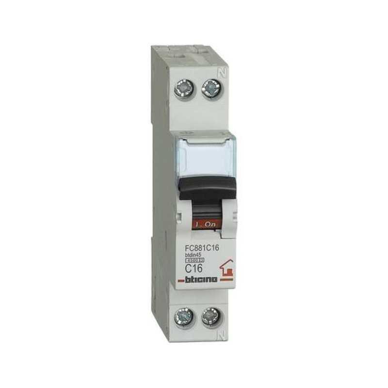 Interruttore automatico magnetotermico 1P+N 16A 4,5KA BTicino FC881C16