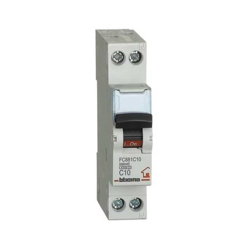 Interruttore automatico magnetotermico 1P+N 10A 4,5KA BTicino FC881C10