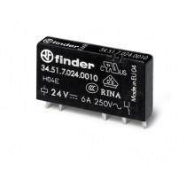 Relè elettromeccanico per circuito stampato 6 A 1 scambio 24 Vdc Finder 345170240010