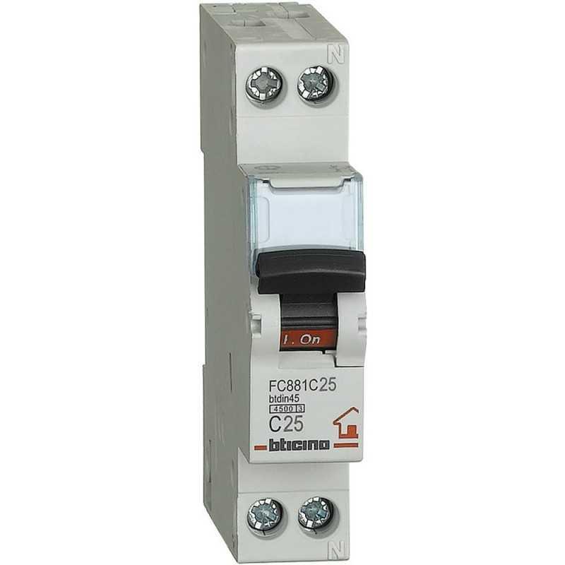 Interruttore automatico magnetotermico 1P+N 25A 4,5KA BTicino FC881C25
