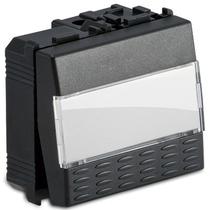 Pulsante portanome 1P NA 2 moduli 16A 250V grigio -Sistema Modo