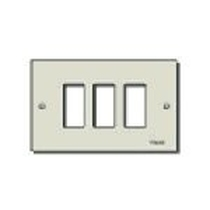 Placca Vimar 8000 3 moduli alluminio viti oro 08537