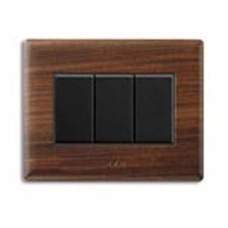 Placca ave sistema 45 45pl3pl vera legno massello palissandro 3 moduli - Interruttori ave sistema 45 ...
