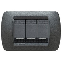 PLACCA METALLO BTICINO LIVING INTERNATIONAL L4803GFN GRAFITE NERO