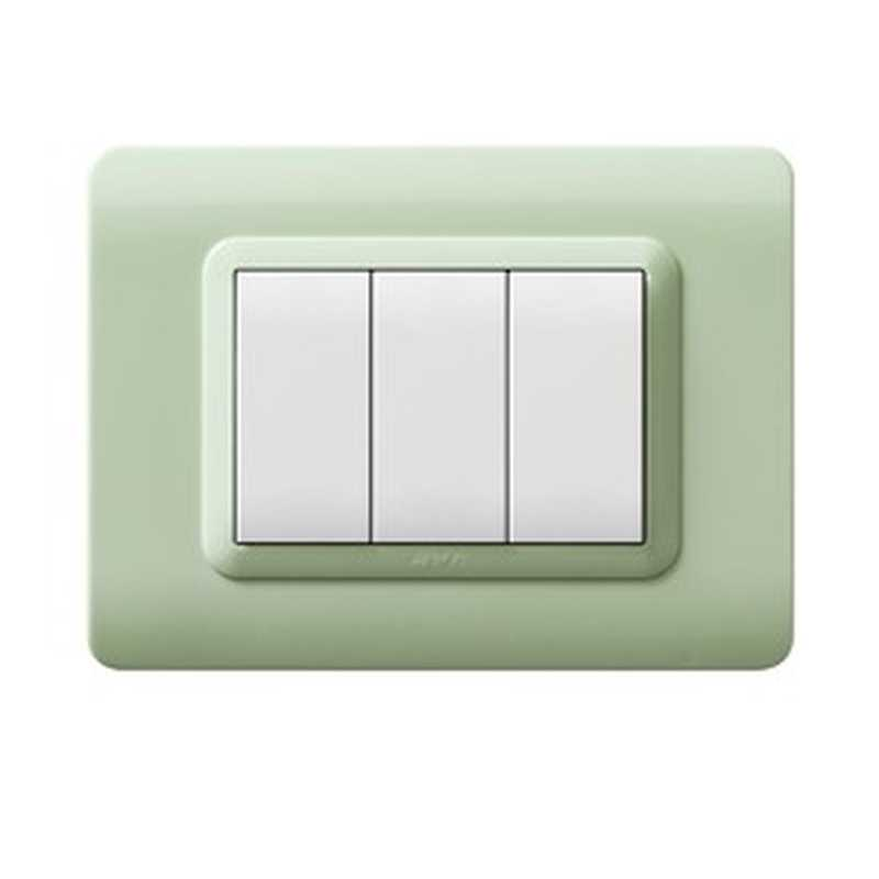 "Placca AVE 44PY07GD ""Tecnopolimero 44"" 7 moduli Giada opalino - semitrasparente"