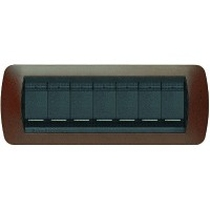 PLACCA  METALLO 7 POSTI BTICINO LIVING INTERNATIONAL L4807BK BAKELITE