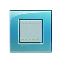 Placca quadra 2 moduli Bticino Livinglight - azzurro deep LNA4802AD