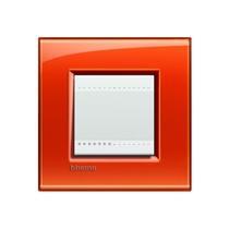 Placca quadra 2 moduli Bticino Livinglight - arancio deep LNA4802OD