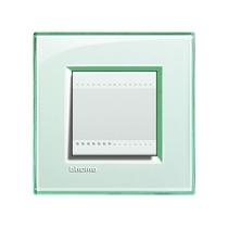 Placca quadra 2 moduli Bticino Livinglight - acquamarina LNA4802KA