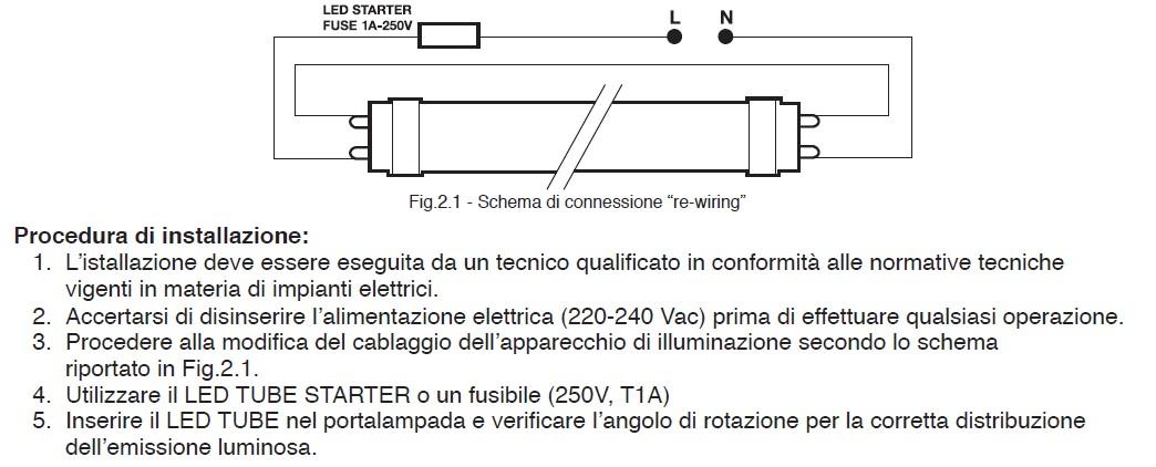 Schema Collegamento Neon Circolare : Tubo a led w cm k wiva